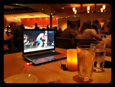 Watching UFC at Orlando's fanciest restaurant.