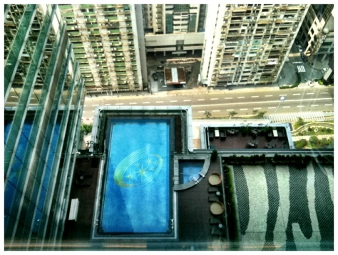 Looking down at the pool from the 26th