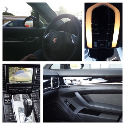 Clockwise from top: Driver side; control panel on roof; center console; passenger side door.